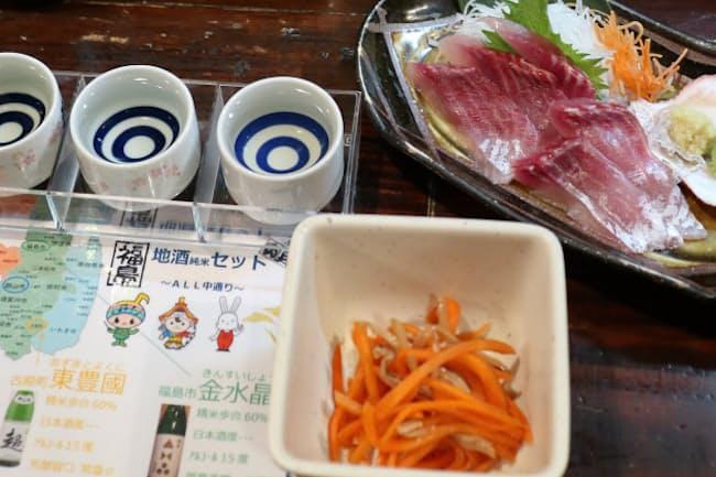 メニューは郷土料理が充実。福島県内の地酒には解説が付く