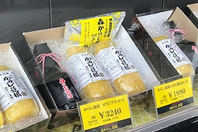 森からし蓮根ではチップスとしょうゆの詰め合わせも販売(熊本市)