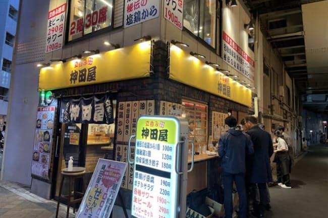 「神田屋」神田駅前店。ここの表記は「立呑み神田屋」。同じチェーンでも店名表記は少しずつ異なっている
