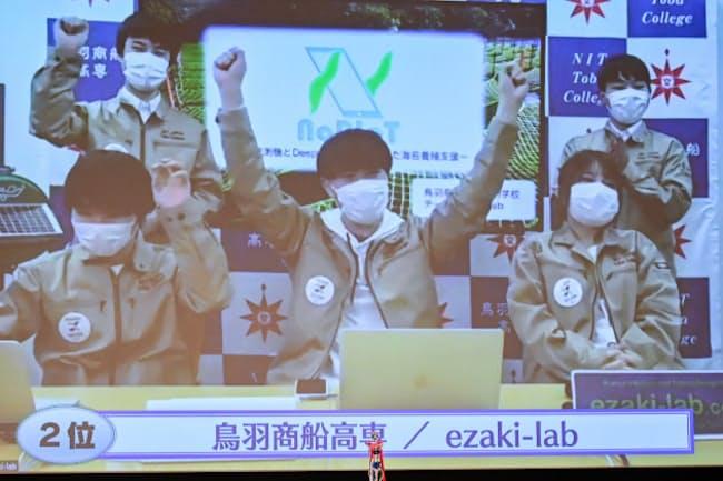 2位に選ばれた鳥羽商船の「ezaki―lab」を映し出すモニター(東京・大手町)