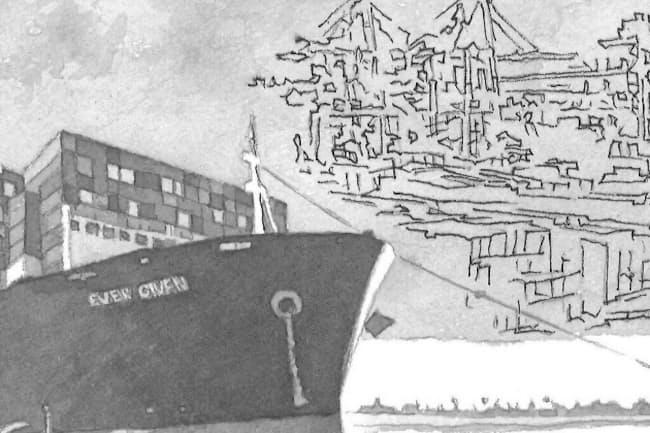 新型コロナやスエズ座礁事故で、国際物流のリスクが浮き彫りとなった イラスト・よしおか じゅんいち
