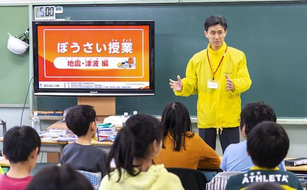 東京海上日動火災保険・広瀬伸一社長も講師を務めた「ぼうさい授業」